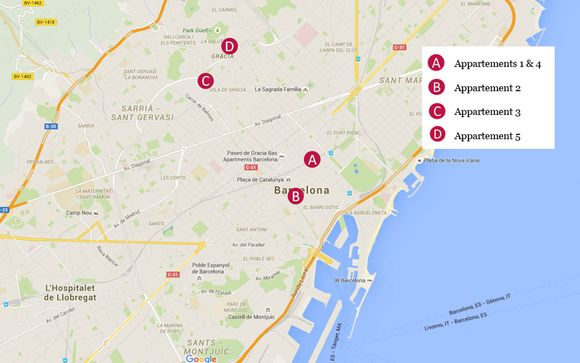 Découvrez la situation géographique des 5 appartements