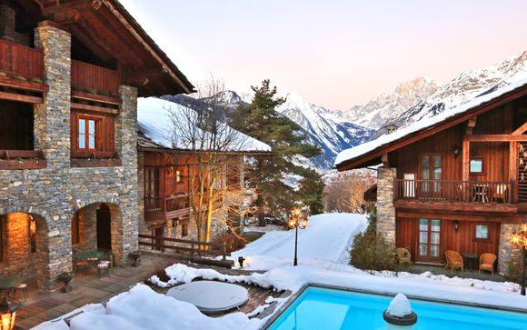 Lo charme del Monte Bianco in 5* con spa in stile alpino